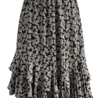 Daisy Everywhere Frill Hem Skirt in Black