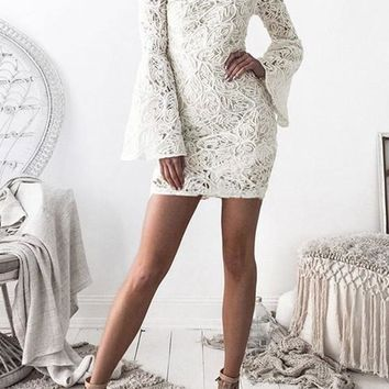 White Floral Lace Zipper Flare Sleeve Band Collar Homecoming Mini Dress