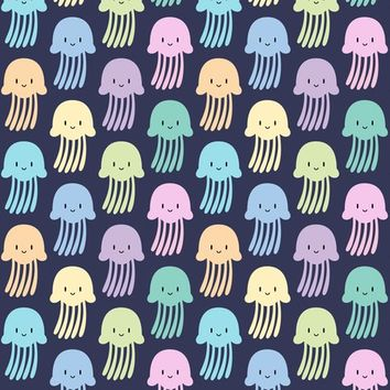 Cute colorful jellyfishes - petitspixels - Spoonflower