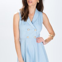 Chambray Double Breasted Romper