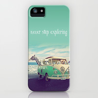 NEVER STOP EXPLORING THE BEACH iPhone & iPod Case by Monika Strigel