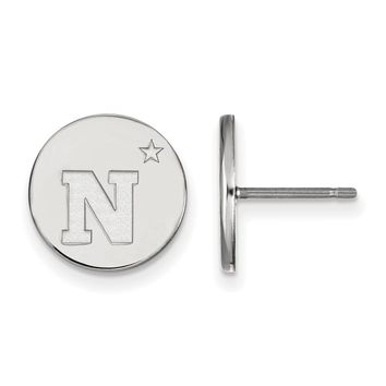 NCAA Sterling Silver Navy Small Disc Earrings