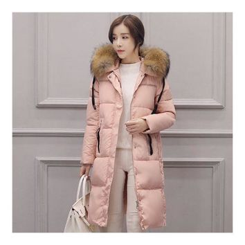 Winter Hooded Middle Long Slim Racoon Down Coat Woman   pink