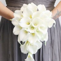 "White Real Touch Calla Lily Cascading Bouquet - 12"" Long"
