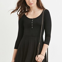 Buttoned Skater Dress