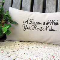 A Dream Is A Wish Linen Lumbar Pillow Embroidered Disney  Pillow