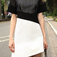 Black and White Short Sleeve Cut Out Summer Dress