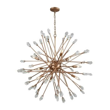 11114/9 Serendipity 9 Light Chandelier In Matte Gold With Clear Bubble Glass - Free Shipping!