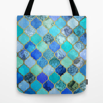 Cobalt Blue, Aqua & Gold Decorative Moroccan Tile Pattern Tote Bag by Micklyn