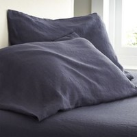 Lino Dark Blue Linen Standard Pillowcases (Set of 2)
