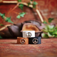 FREE SHIPPING, An adjustable  peace sign leather ring,black,brown,white,Native American inspired,hippie,boho