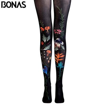 BONAS Flower Pantyhose Leaf Print Tights Female High Waist
