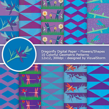 Dragonfly Digital Paper, colorful dragonflies and flowers, printable geometric shapes/insects, purple/pink/blue patterns, Buy 2 Get 1 Free