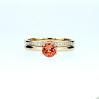 Red sapphire solitaire engagement ring set, yellow gold ring, diamond wedding band, red engagement, curved, custom, unique, sapphire ring