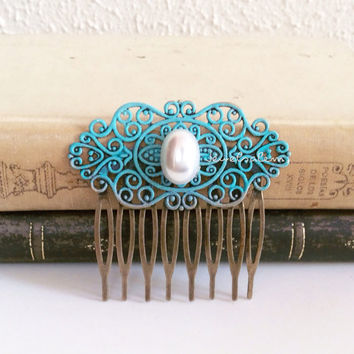 Hair Comb White Pearl Comb Teal Wedding Turquoise Bridal Hair Piece Something Blue Old Vintage Style Bridesmaids Accessories Patina Blue