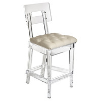 George II Barstool, Beige, Acrylic / Lucite, Bar & Counter Stools
