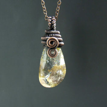 Lodolite necklace, garden quartz necklace, stone copper jewelry, copper necklace, gemstone jewelry