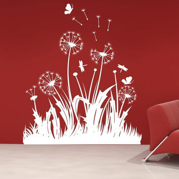 Dandelions Dragonflies And Butterflies Vinyl Wall Decal Sticker