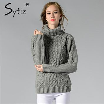 Sytiz Turtleneck Women Sweater Twisted Flowers 2017 Casual Vintage Knitwear Pullover Christmas Female Sweater Winter Autumn