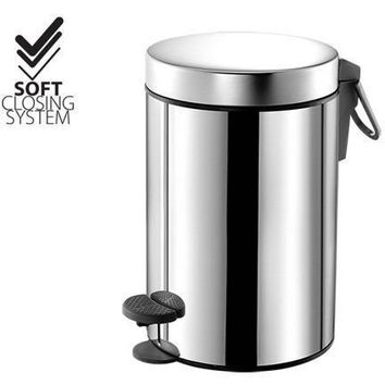 SCBA Round Stainless Steel Wastebasket Step Soft Closing Trash Can for Bathroom