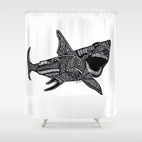 Jaws Shower Curtain by Lauren Moore