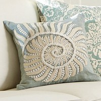Blue Nautilus Embroidered Pillow Cover