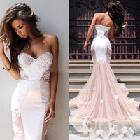 Vestidos Longos Formatura Sexy Sweetheart Applique Lace White Mermaid Prom Dresses 2016 Abendkleider Long Prom Party Gowns ZY060