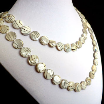 Zebra Striped Extra Long Shell Pearl Necklace