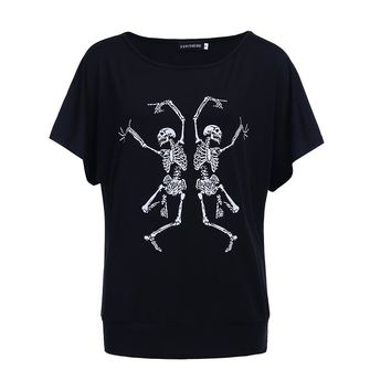Women T-shirt Two Funny Skull Printed Shirt Summer Tops For Female Clothing