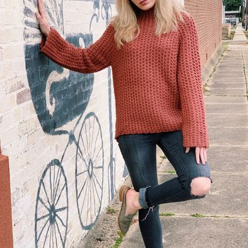 Chunky Waffle Knit Mock Neck Sweater {Deep Rose}