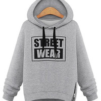 "'The Shirley' Gray ""Street Wear"" Printed Hooded Sweatshirt"