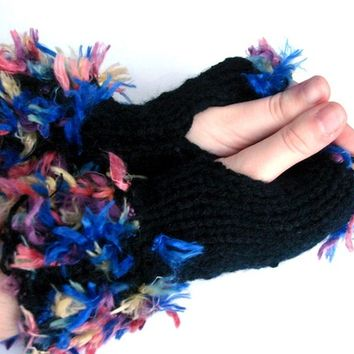 Fluffy Boho Handmade Knitting  Black Fingerless Gloves, Hand Knit  Mittens size M