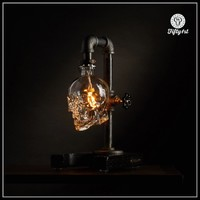 """Industrial Skull Table Lamp """"Max"""", outlet table lamp, steampunk lamp, reclaimed wood light, dimmer"""