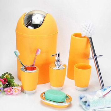 DCCKL72 6 Pcs Bathroom Accessory Bin Soap Dish Dispenser Tumbler Toothbrush Holder Set