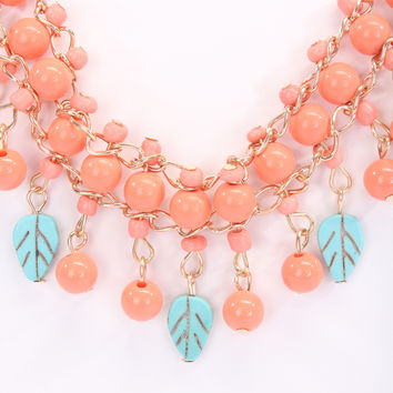 Coral Mint Blue Tiered Beaded High Polish Metal Accessory Set