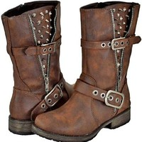 Breckelles Rocker-17 Brown Women Riding Boots, 10 M US: Shoes