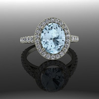 Oval Halo Engagement Ring Blue Topaz and Diamonds 3.00 CTW