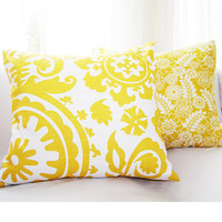 "Yellow & White Pillow Cover for 18x18 or 20x20 Pillow  ""Color Me Crazy"" Collection"