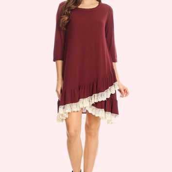 Lace Ruffle Accent Tunic Dress - Wine