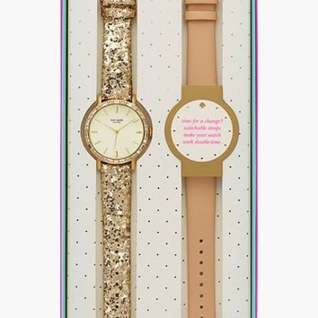Women's kate spade new york 'metro' crystal bezel watch & straps set, 38mm - Vachetta/ Gold Glitter