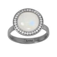 Midnight Collection Round Moonstone Halo Ring With Gray Diamonds