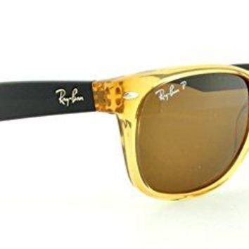 Ray-Ban RB2132 NEW WAYFARER 55mm Honey Crystal Brown Polarized Sunglasses