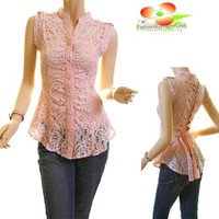 Boho Medieval Pink Sheer Lace Button Up Tie Back Renaissance Blouse Shirt Top