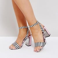 River Island Stripe Block Heel Barely There Sandals at asos.com