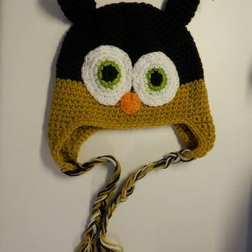 CROCHET HAT -  TAN / BROWN OWL