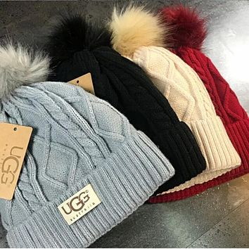 UGG Winter Fashion Women Men Warm Knit Velvet Hat Cap
