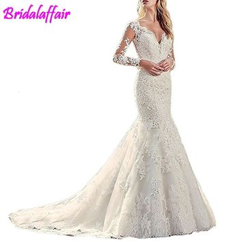 Women's vestdos de novia V-Neck Lace Mermaid Wedding Dresses Long Sleeve Bridal Gowns mermaid wedding gowns for bride