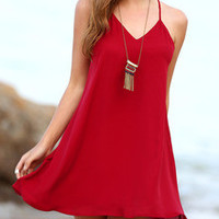 Red Backless Spaghetti Strap Beach Dress