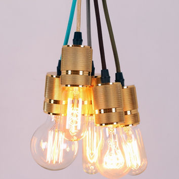 Gold Vintage Hanging Ceiling Pendant Light Max. 200W with 5 Lights Painted Finish