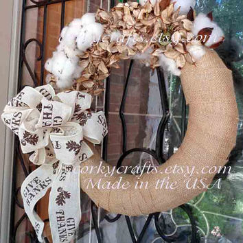 Cotton Burr wreath - Thanksgiving gifts, wedding pew rustic decor, autumn wedding, farmhouse decor